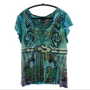 STYLE&CO Teal Multicoloured ShortSleeve Top XLarge